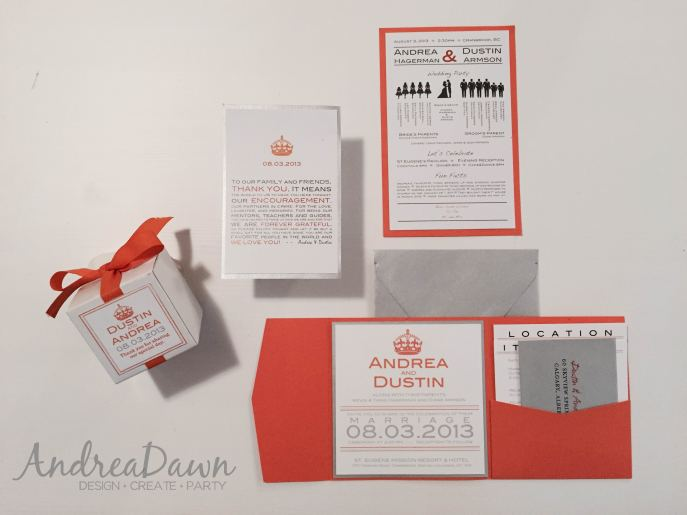 Orange, White, Silver Wedding Invite Suite Favour Boxes Thank You Cards