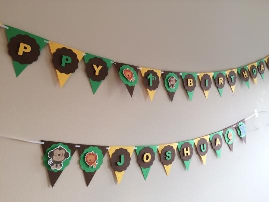 Safari Animals First Birthday Banner