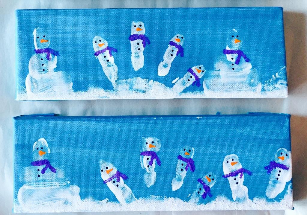 Finger Print Snowmen Painting
