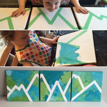 Diy Easy Canvas Painting For Toddlers All You Need Is Paint Painters Tape Celebrate Party Decor By Andrea Dawn