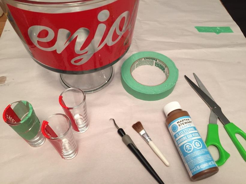 DIY Glass Etching Martha Stewart Bowls Shot Glasses
