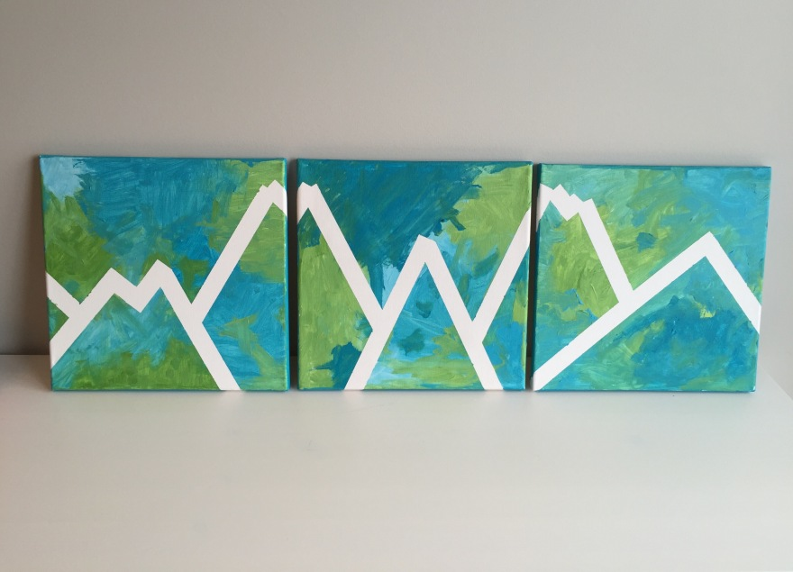DIY Canvas Art by Toddlers and Kids, Mountain Landscape