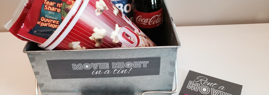 Movie Night in A Tin Gift Bag DIY Free Printable