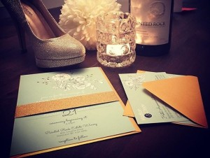 Mint, White & Gold Wedding Invite Peonies