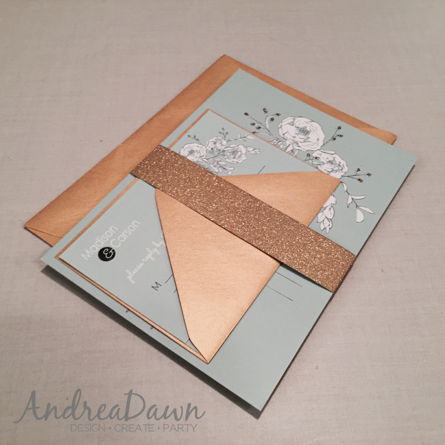 Gold, Mint, White Wedding Invitation Suite