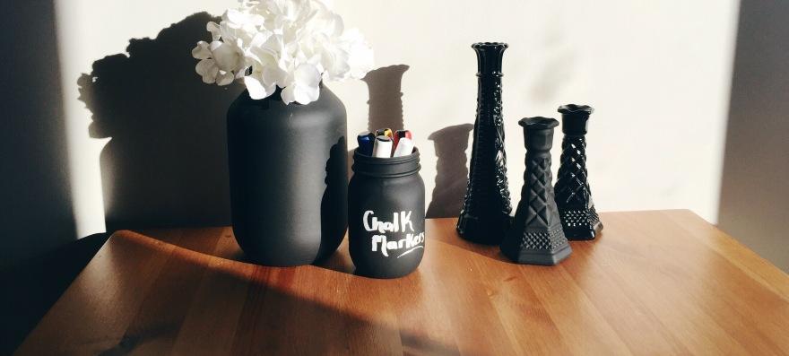 DIY Spray Painted Milk Vases & Mason Jars Vases