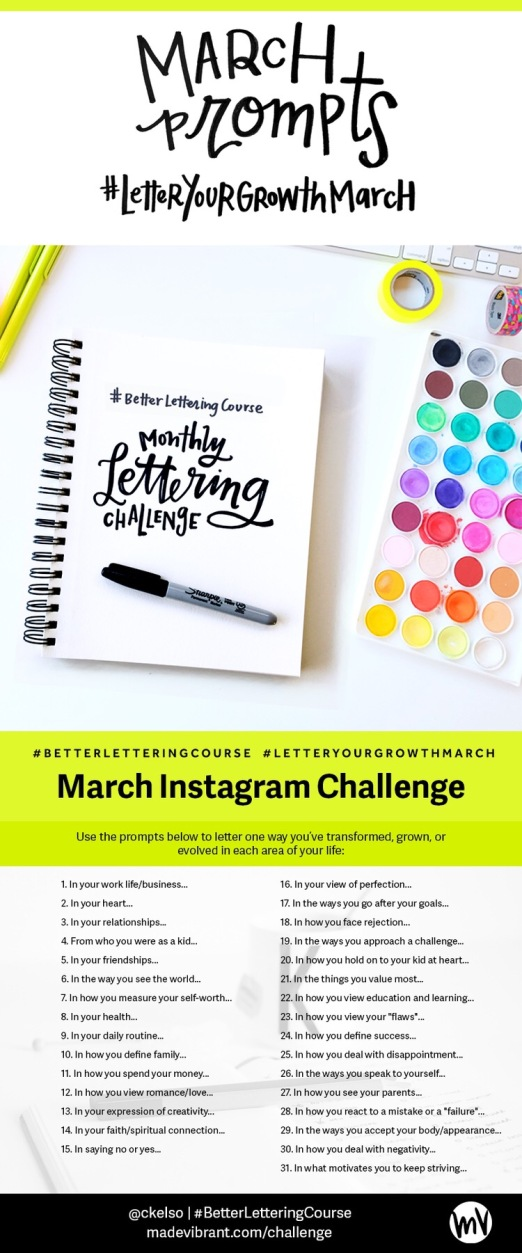 Letter Your Growth March Instagram Challenge