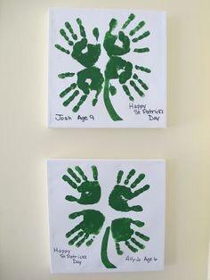 Lucky Four Leaf Clover Hand Print Craft