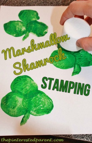marshmallow shamarock activity for toddlers