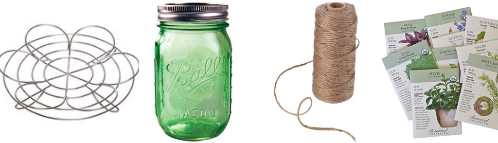 DIY Herb Garden Materials: Mason Jar, Canning Rack, Twine