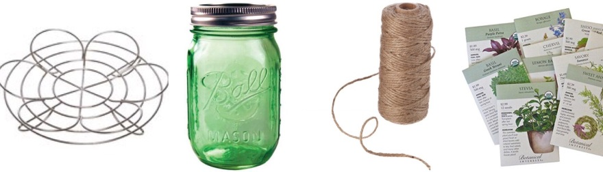 DIY Herb Garden Materials: Mason Jar, Canning Rack, Twine