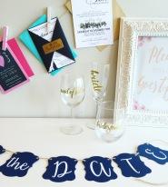 Custom Bridal Party Glassware, Banners, Invites by AndreaDawn Edmonton Wedding Designer