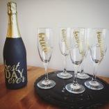 Bridal Party Customized Champagne Glasses Glassware Edmonton Vinyl