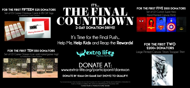 Dustin Extra Life Final Countdown Donation Drive