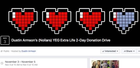 Dustin Nollars YEG Extra Life 2-Day Donation Drive